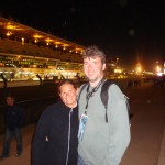 Julie and I on the front straight at Le Mans in 2010.