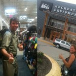 New backpack shopping at REI.  Gotta live out of that for a year, huh?