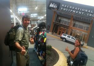 Mark and Julie's new backpacks