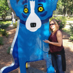 Julie in New Orleans with the Blue Dog