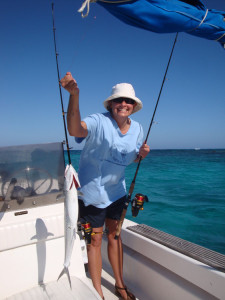 Image of Julie Catching a Spanish Mackerel