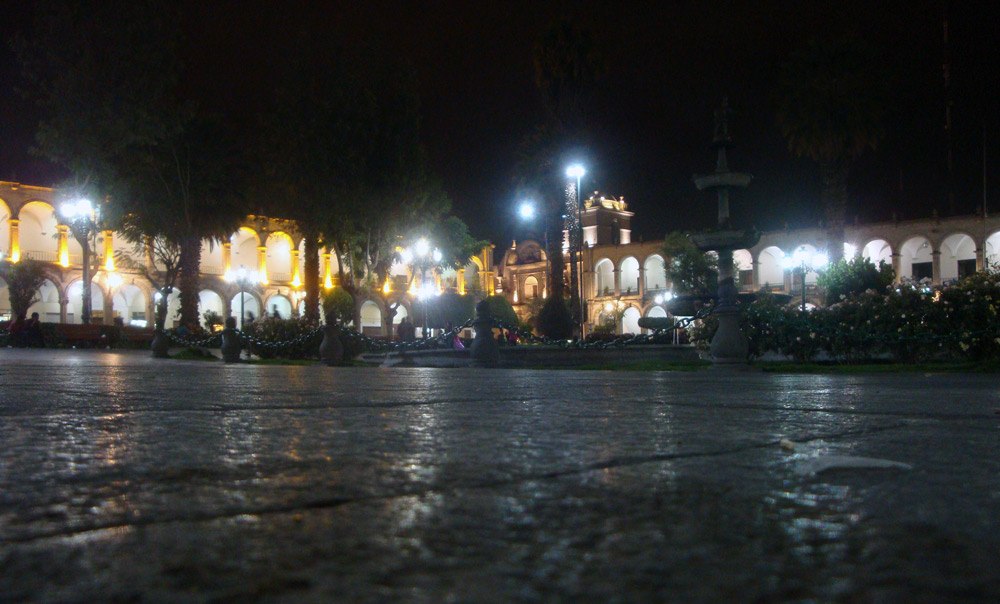 Image of The Plaza de Armas at night.