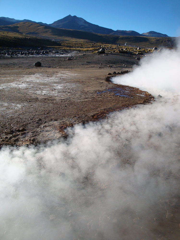 Image of Steam rolling of the geysers at El Tatio