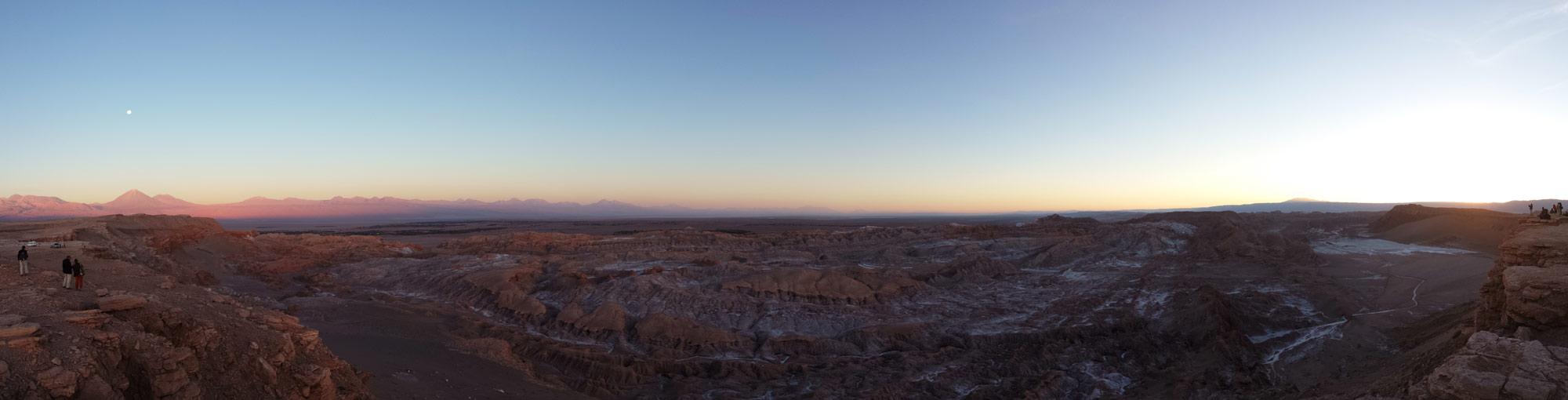 Panorama of sunset at Valle de la Luna