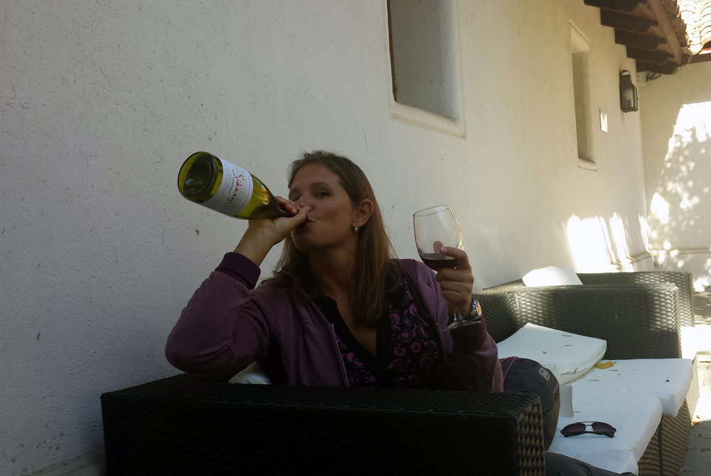Image of Julie drinking wine.