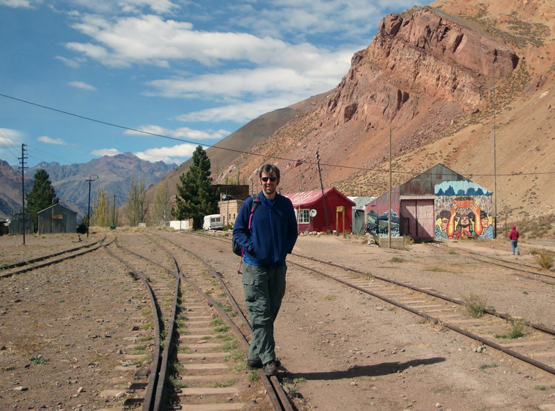 Image of Mark on the abandoned Transandine railway.
