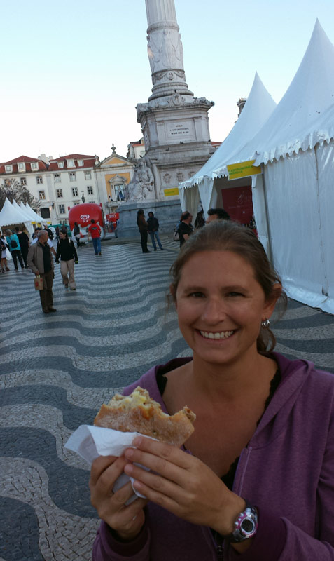 Image of Enjoying a sandwich in Rossio Square.