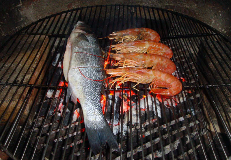 Image of Fish and Shrimp on the Grill
