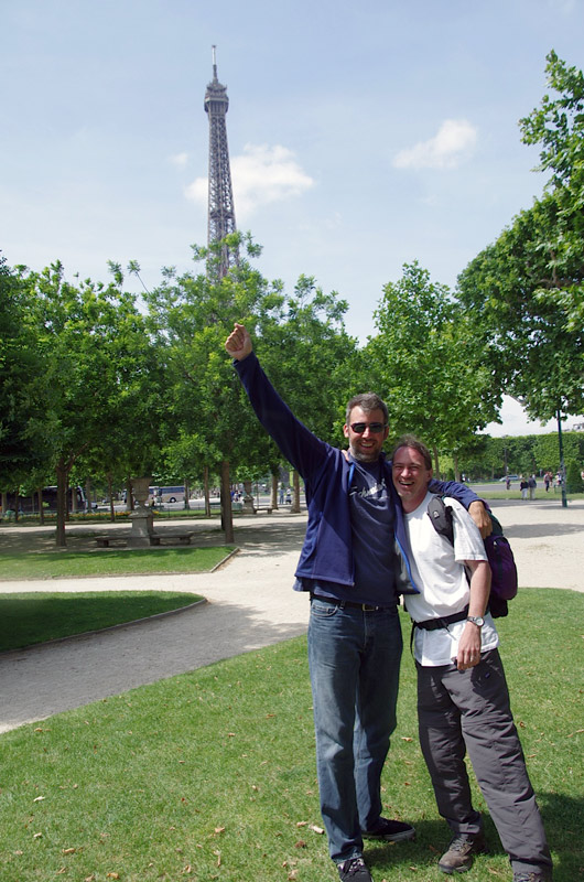 Image of Mark and David in front of the Eiffel Tower