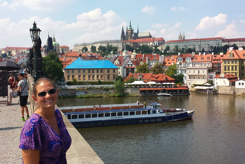 Image of On the Charles Bridge with Prague Castle on the hill.