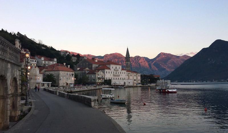 Image of Perast, Montenegro at sunset
