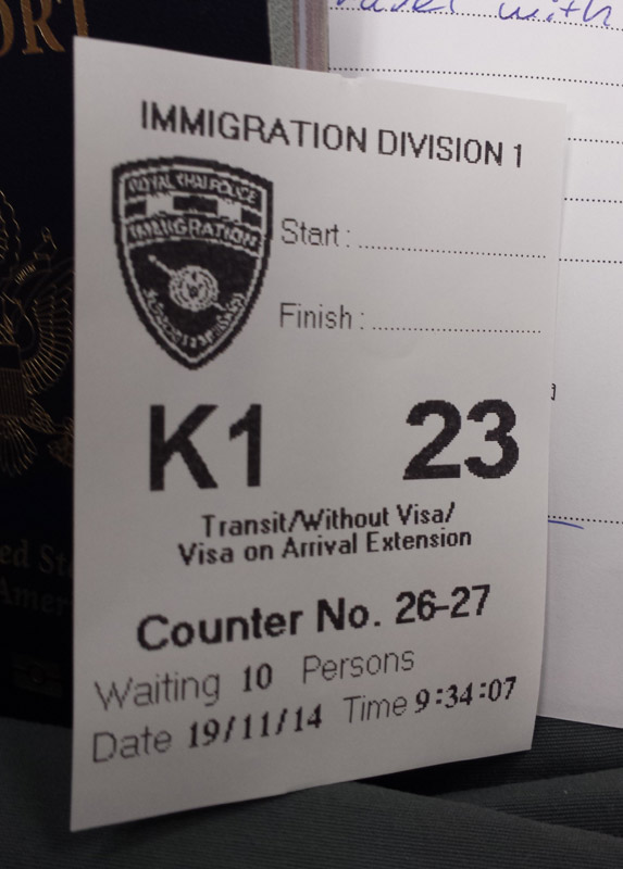 Image of Queue ticket from Immigration office Bangkokq