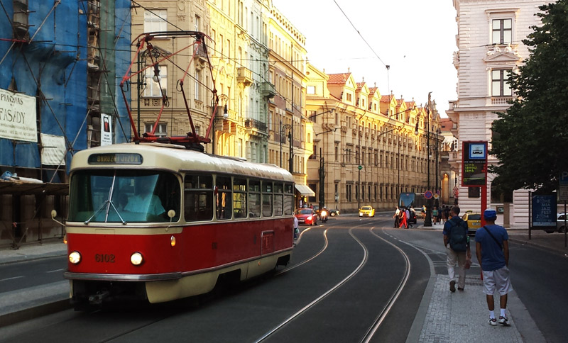 Image of One of the older trams operating in Prague.