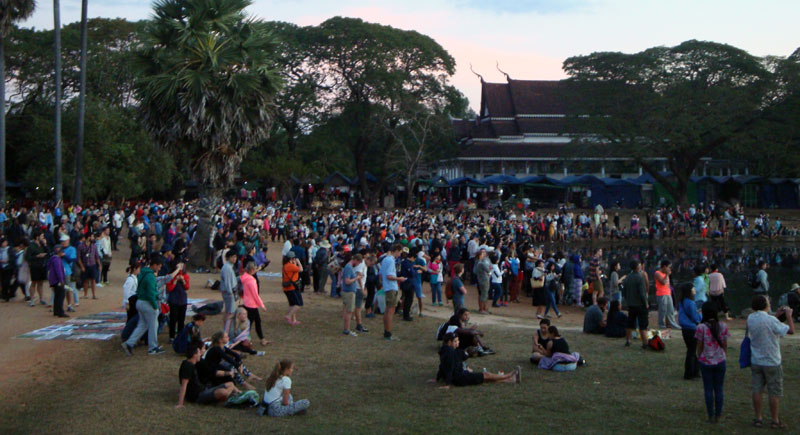 Image of Crowds waiting for sunrise at Angkor Wat