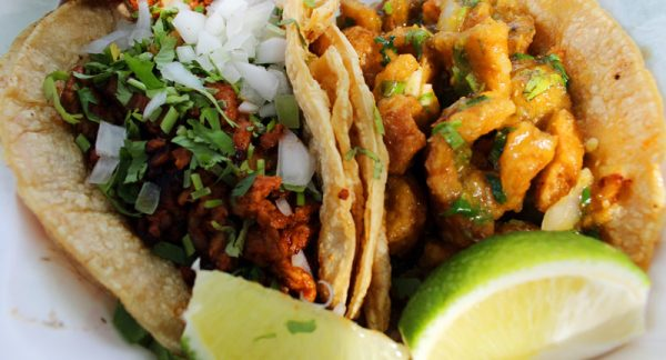 Image of Al pastor and chicharron tacos from Pueblo Viejo.