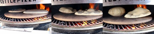 Image of pita cooking on the pizza stone